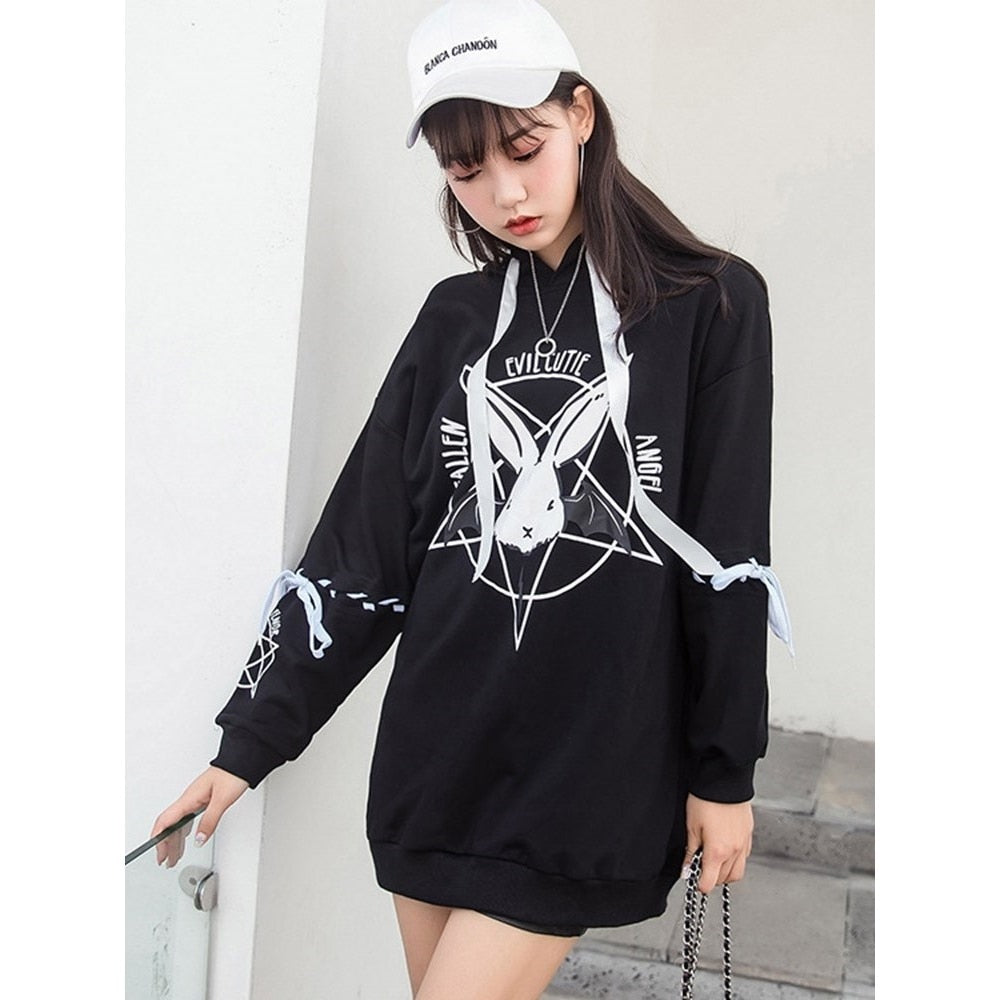 Punk Cartoon Print Plus Size Hoodie
