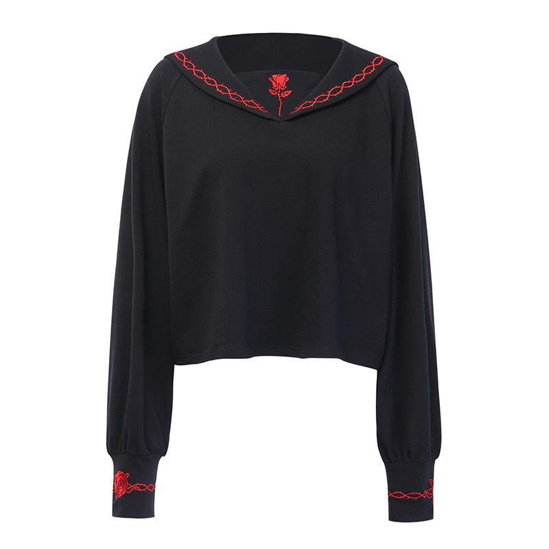 Sweatshirt Casual Embroidery Lady Pullover