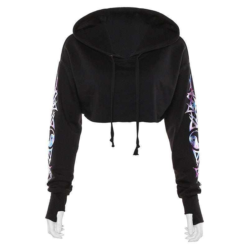 Gothic Punk Letter Pritned Cropped Hoodie