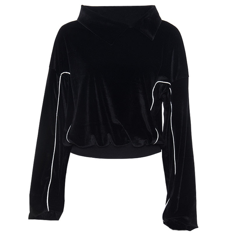 Gothic Punk Crop Female Hoodies