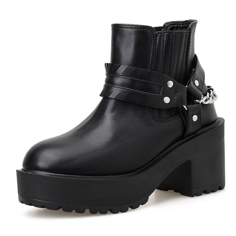 Gothic Sexy Boots Black Leather