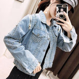 Rivet Pins Women Denim Jacket Streetwear