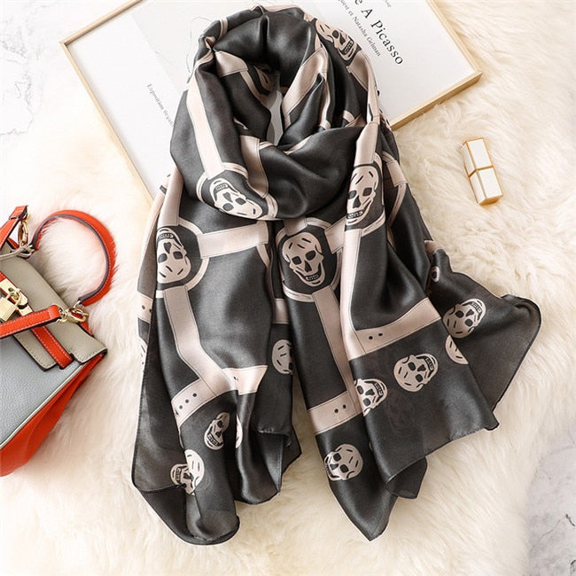 Skull Pure Silk Scarf Ladies Fashion