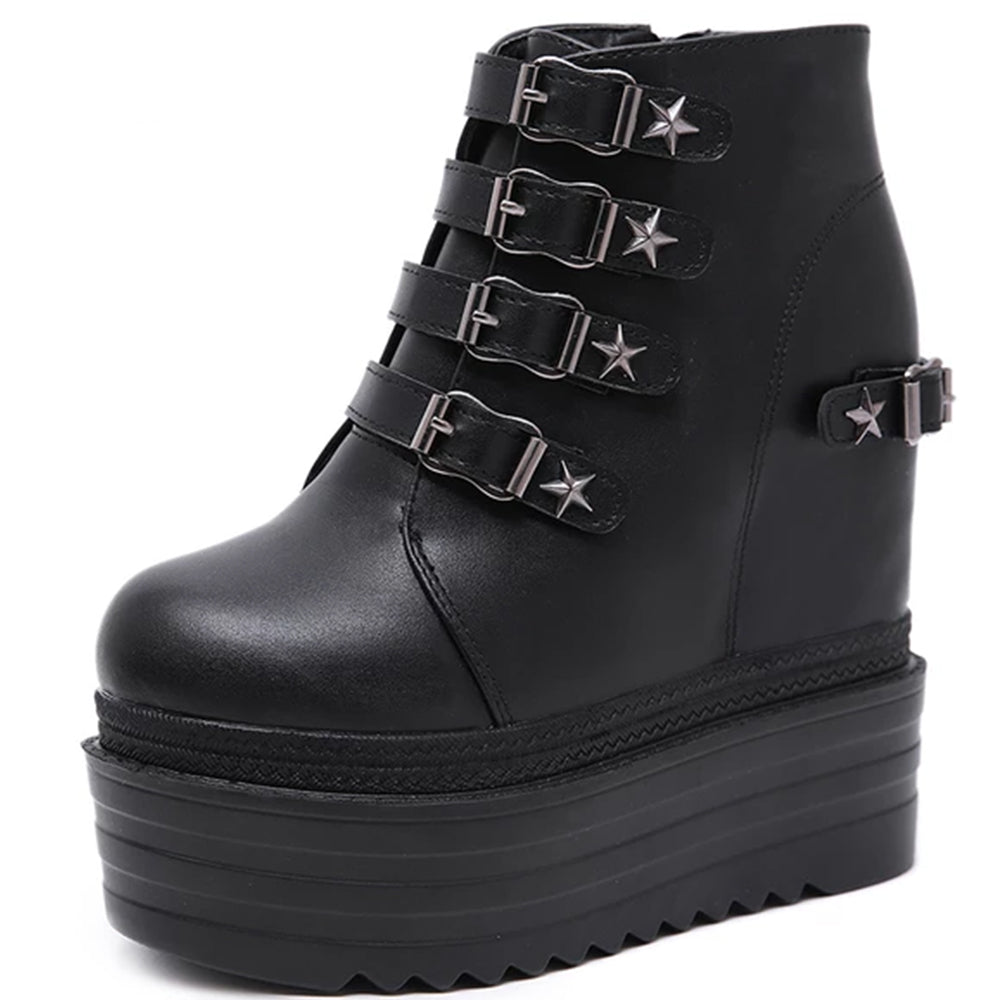 Metal Rivets Pentagram Boots