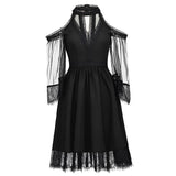 Romantic Gothic Cold Shoulder Lace Mesh Dress