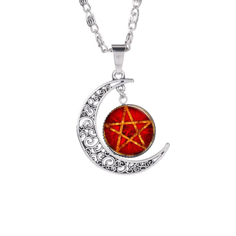 The Moon Pentagram Glass Pendant Necklace