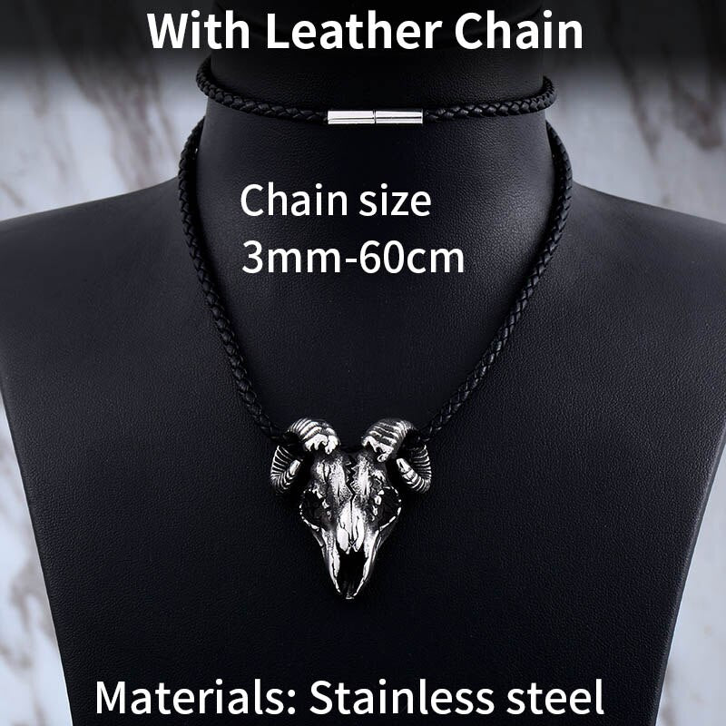 Steel soldier goat skeleton pendant necklace jewelry