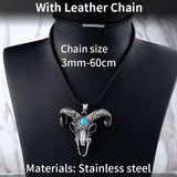 Steel soldier goat skull skeleton pendant necklace