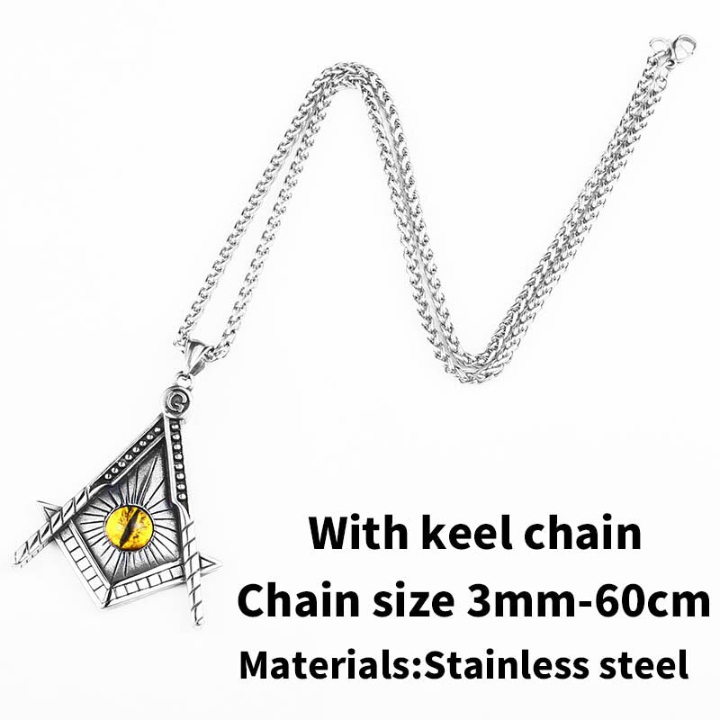 Pendant necklace yellow eye stainless steel punk jewelry