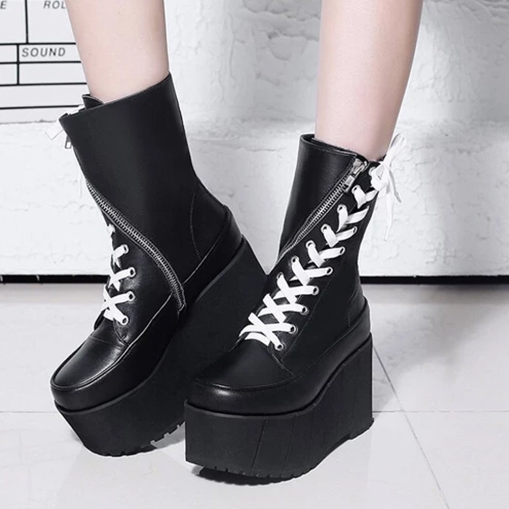 Leather Boots Women Zipper