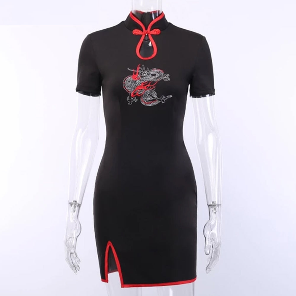 Embroidery Splice Hollow Out Dress