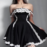 Patchwork Lace Black Dress