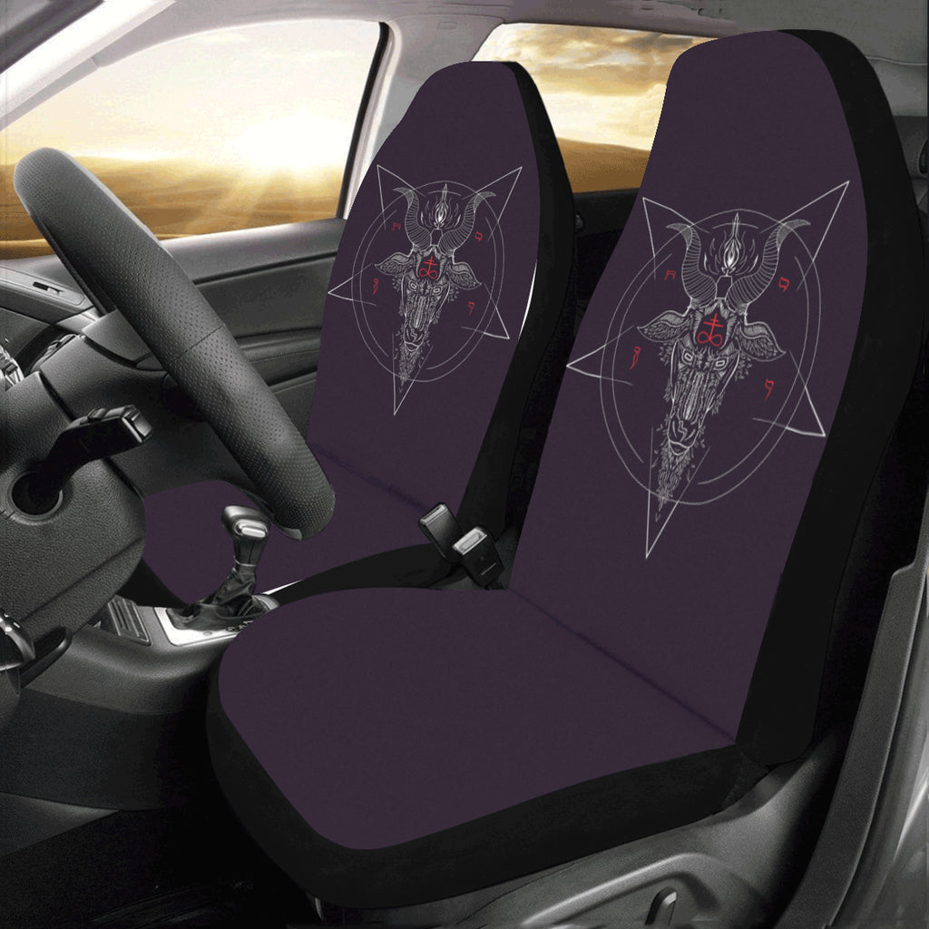 Red text Satanic Car Seat Covers (Set of 2)