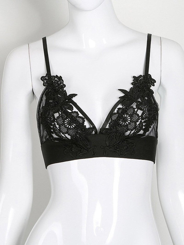 Gothic Sexy Lace Bra Flowers Push Up