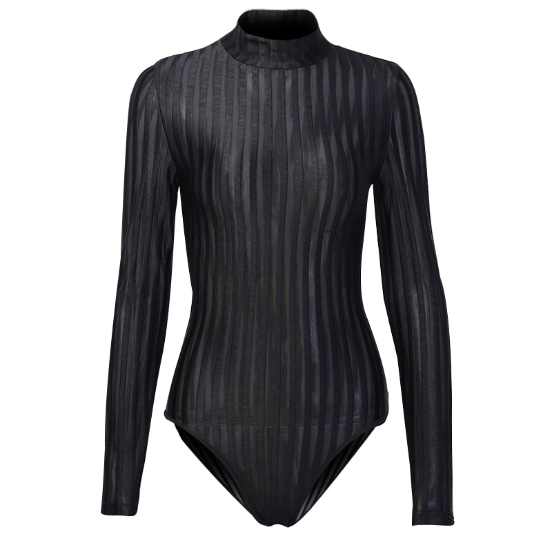 Sexy See-through Mesh Long Sleeve Bodysuits