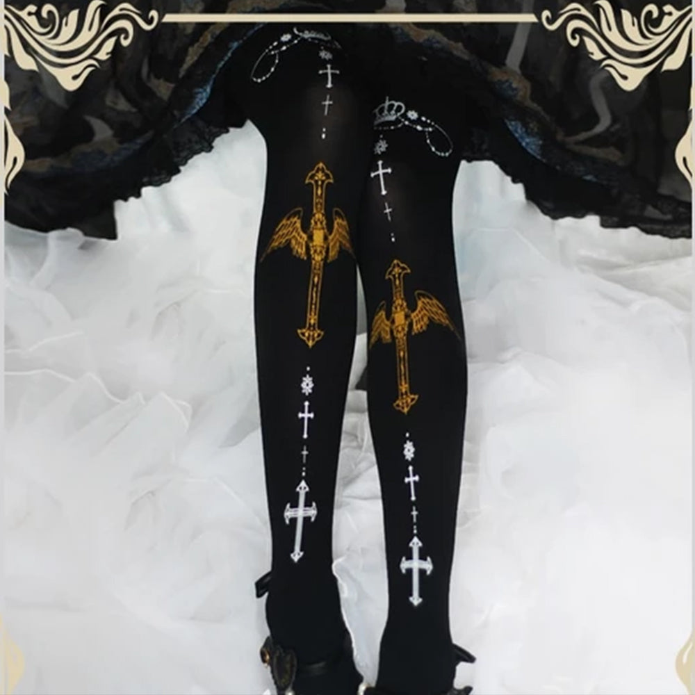 Patterned Black Tights Angel Stockings