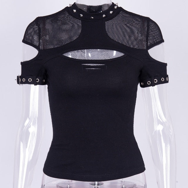 Sexy Hollow Out Mesh T-shirt