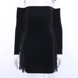 Gothic Mesh Dresses Halter Long-Sleeve