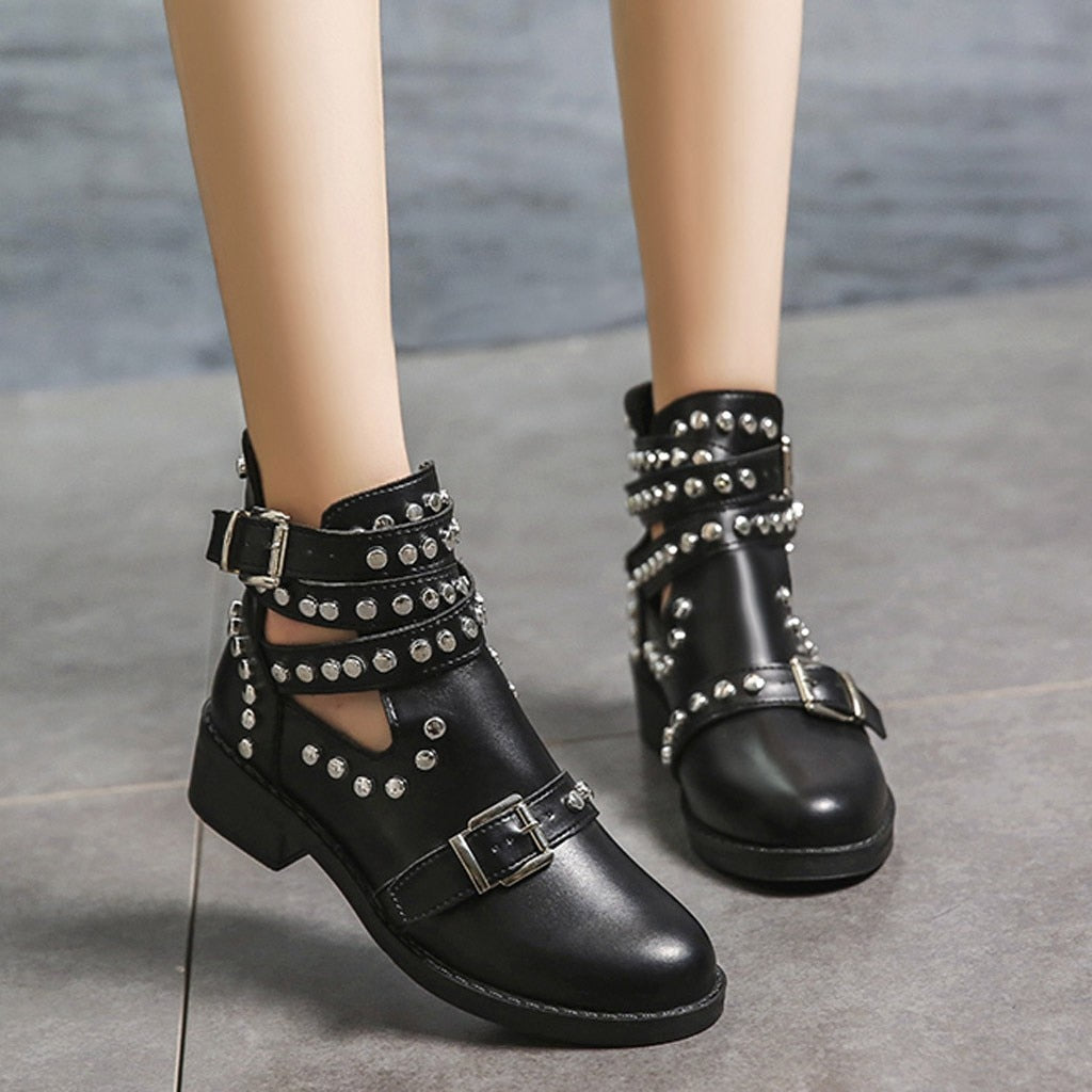 Rivet Motorcycle Leather Ankle Boots