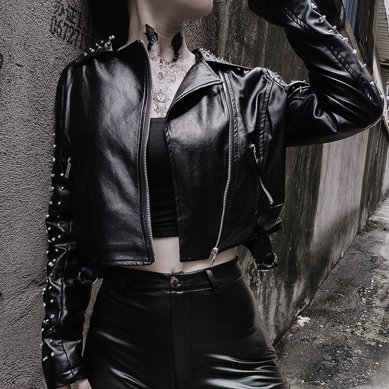 Gothic Faux Leather Jackets Basic