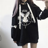 Gothic Punk Penttagram Printed Oversize Hoodie