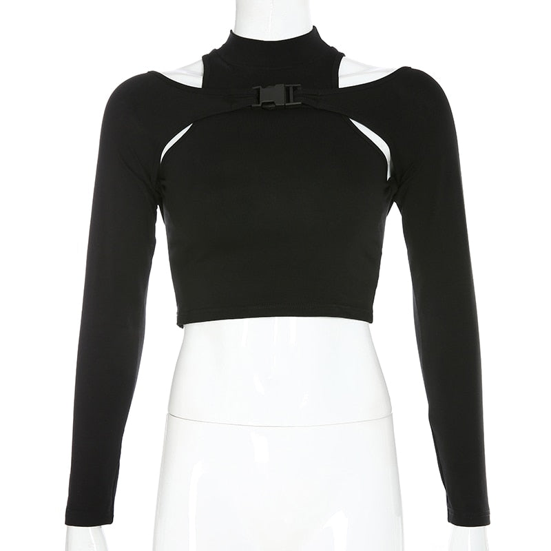 Gothic Long Sleeve Crop Tops Hollow Out