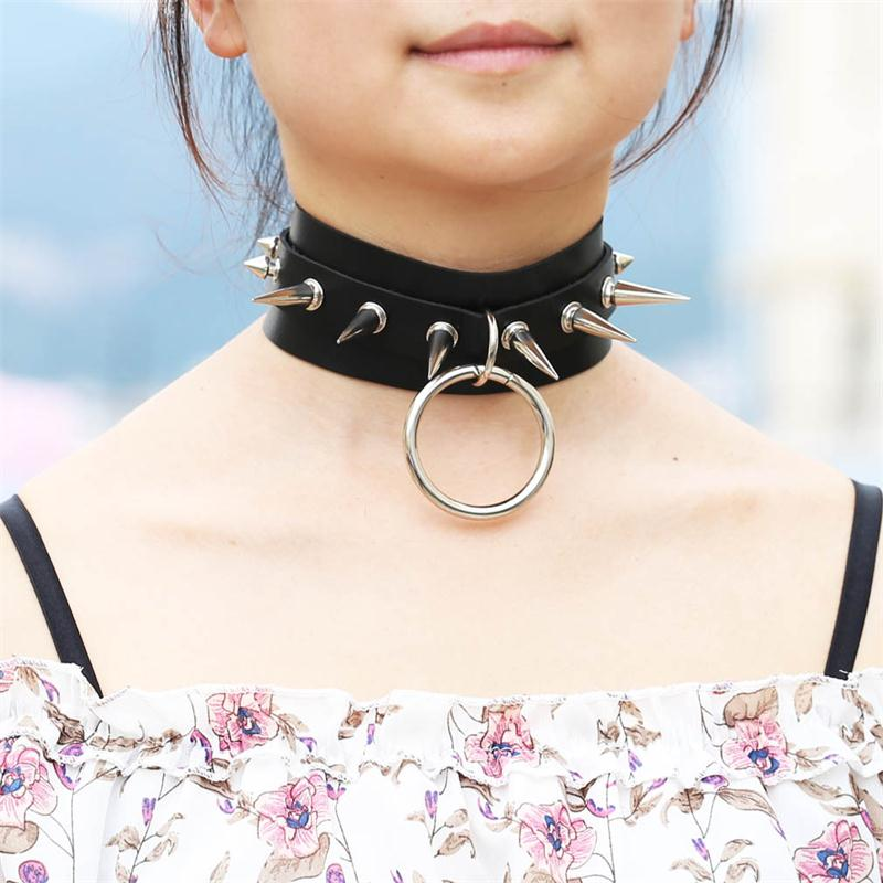 Sexy Leather Choker Necklace Silver Rivet