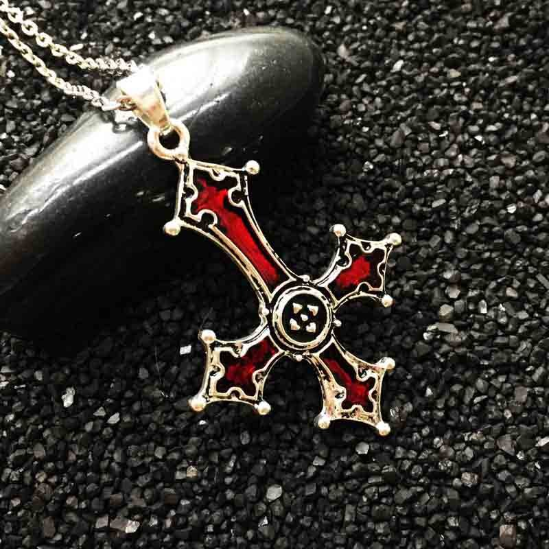 Red Bloody Inverted Cross Pendant