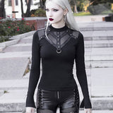 Mesh Patchwork Long Sleeve Tops T-shirts