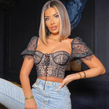 Stretch Lace Sexy Crop Top Embroidered