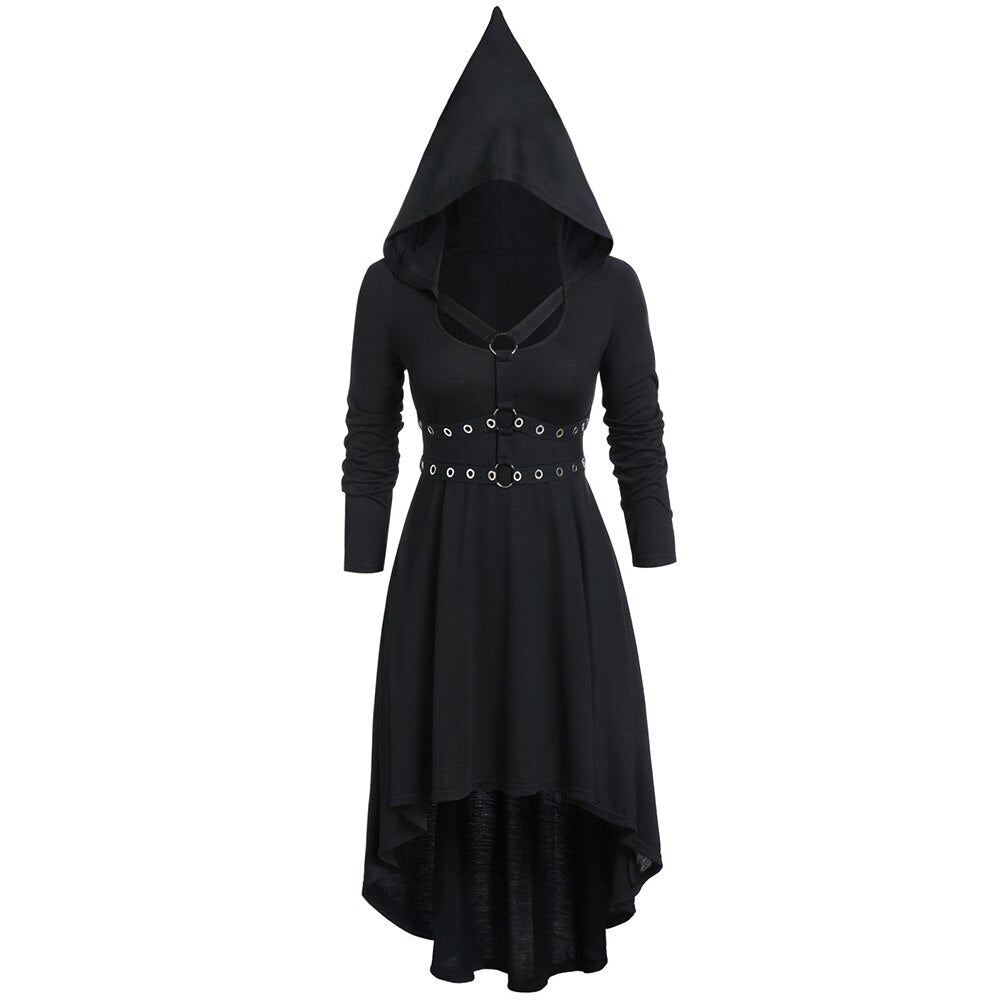 Vintage Hooded High Women Dress