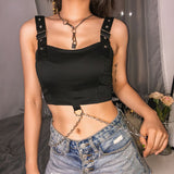 Gothic Cropped Tops Rivot Chain