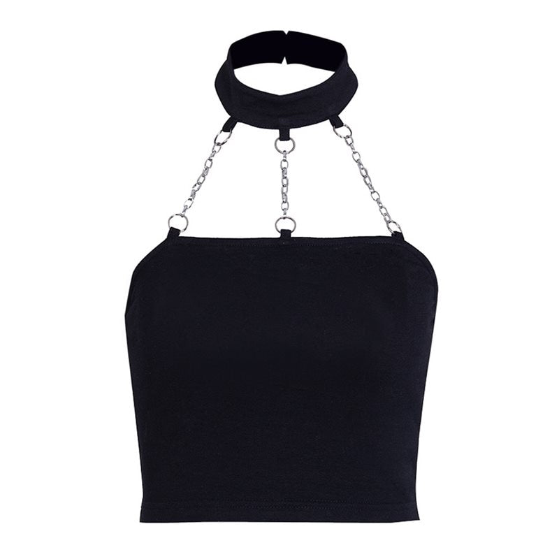 Tube Tops Sexy Black with chain