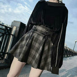 Plaid Pleated Skirts High Waist