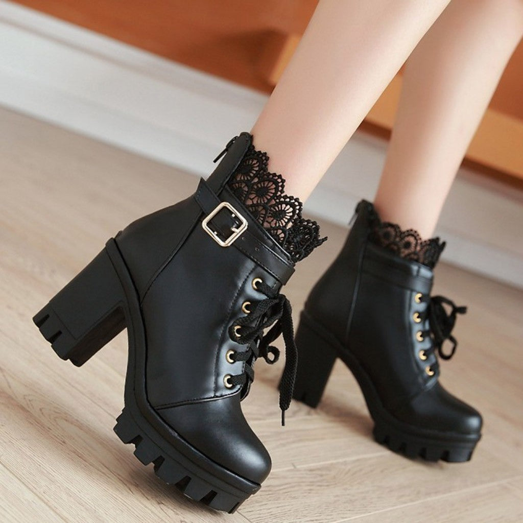 Leather Lace Ankle Shoes High Heel