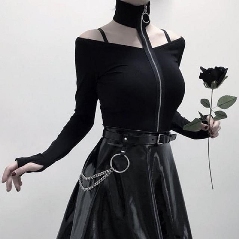 Off-Shoulder Zipper Long-Sleeved Goth T-shirt