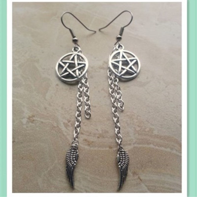 Pentagram And Angel Wing Charm Dangle Earring