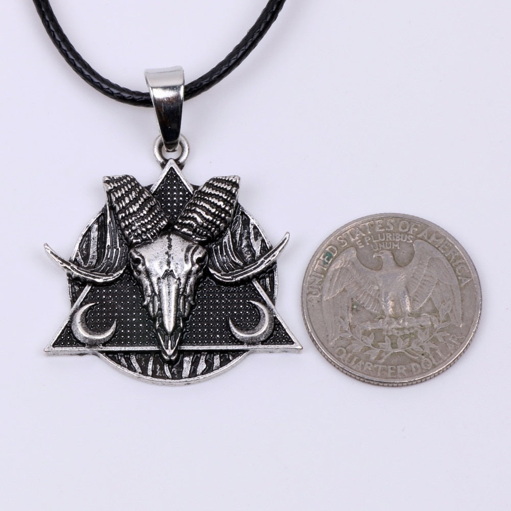 Goat Skull Amulet Triangle Pendant Necklace