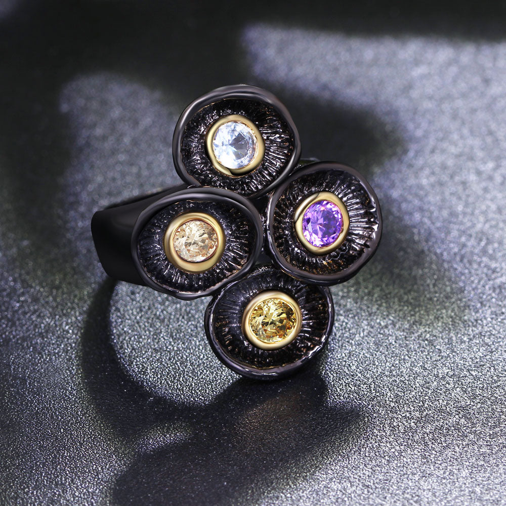 Four Colors Gothic Rings