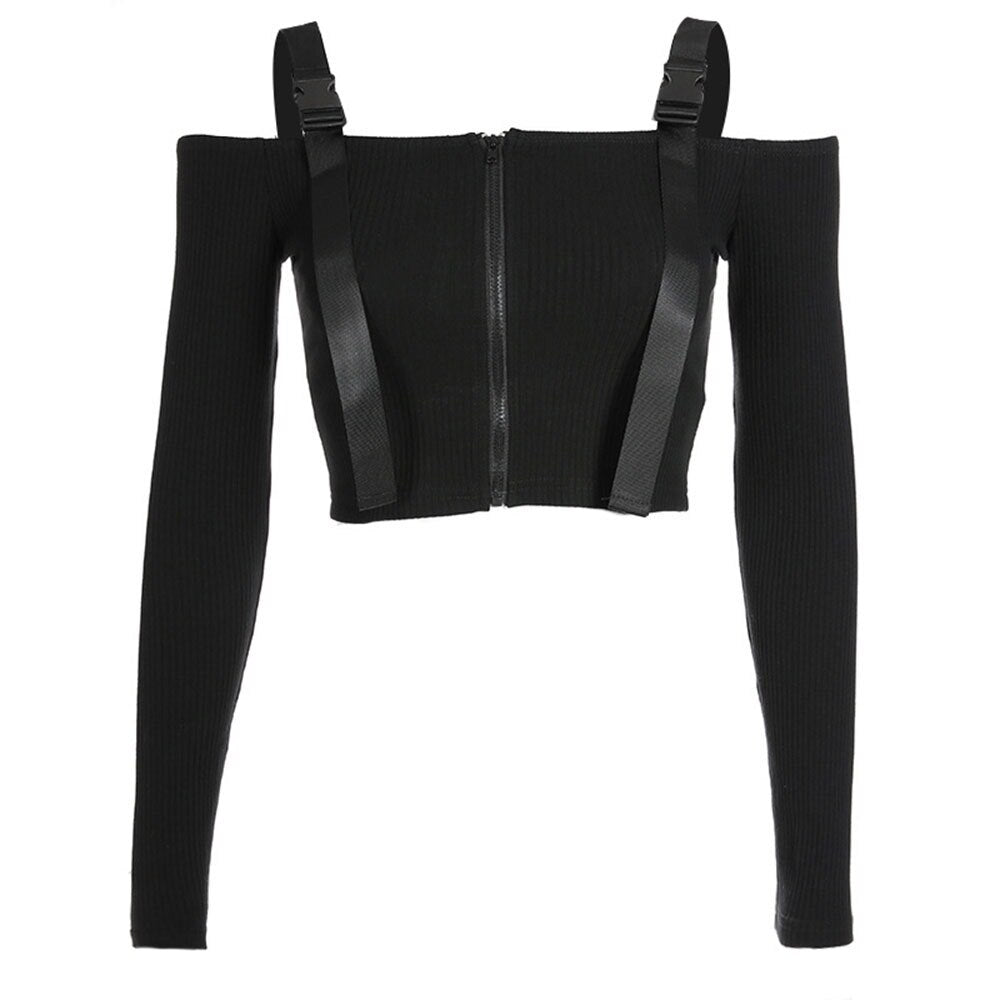 Gothic Tops Sexy Slash Neck High