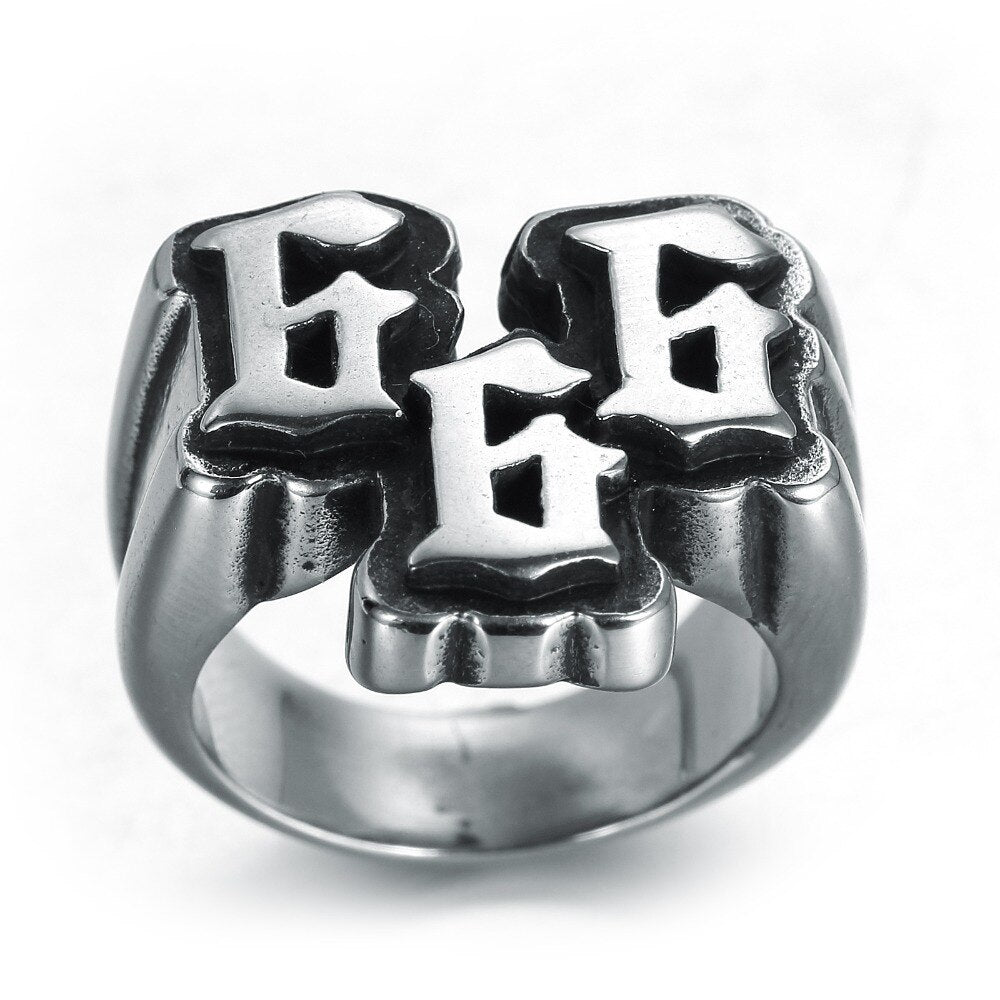Stainless steel 666 ring