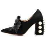 Shoes High Quality Famous Stud Heels Crystal Black