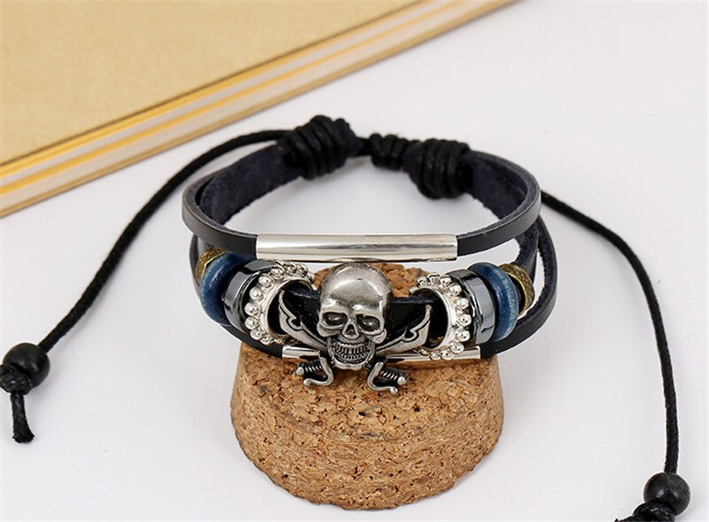 Skull Men Bracelet Charms Leather Gothic
