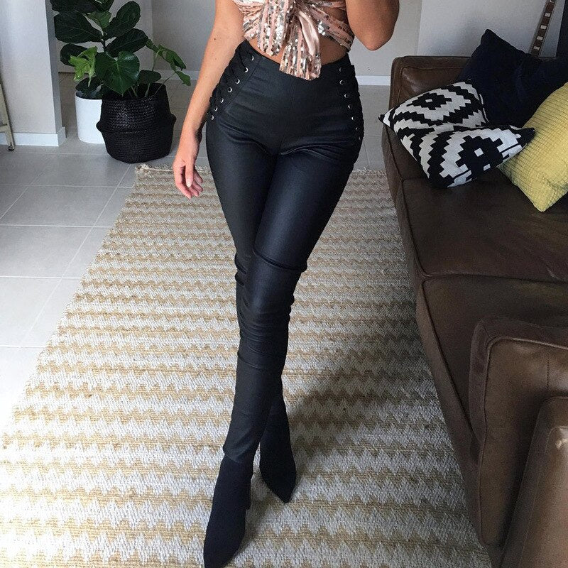 Sexy Black Matte Leather High Waist Leggings