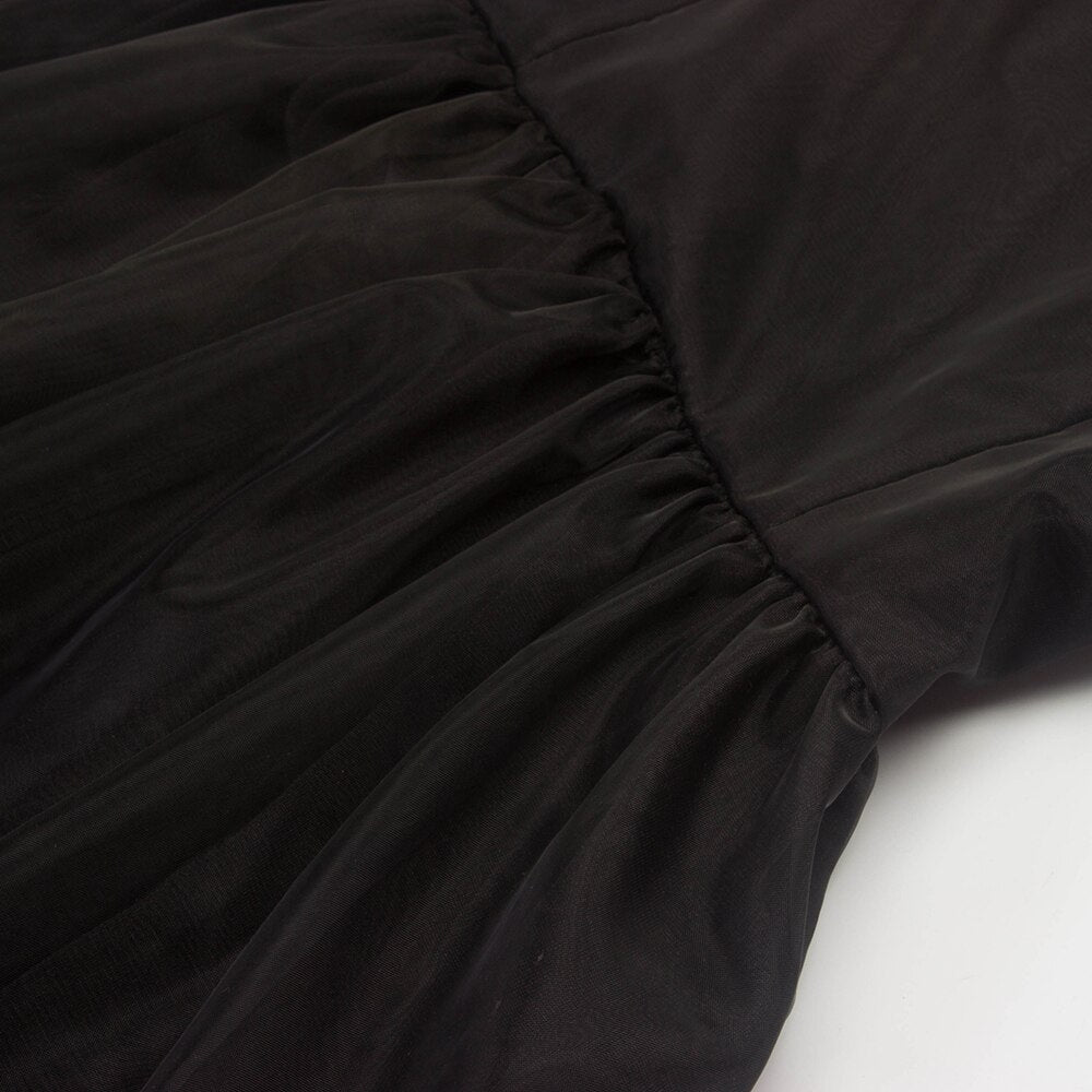 Vintage Black Tulle Dress Summer Sexy Mesh