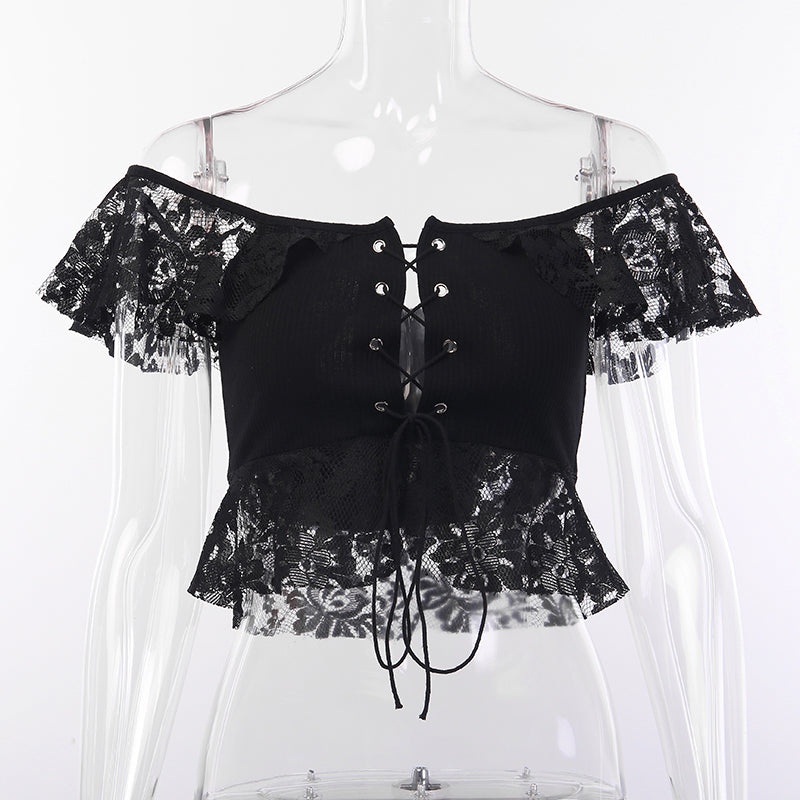 Sexy Lace Crop Short Sleeve