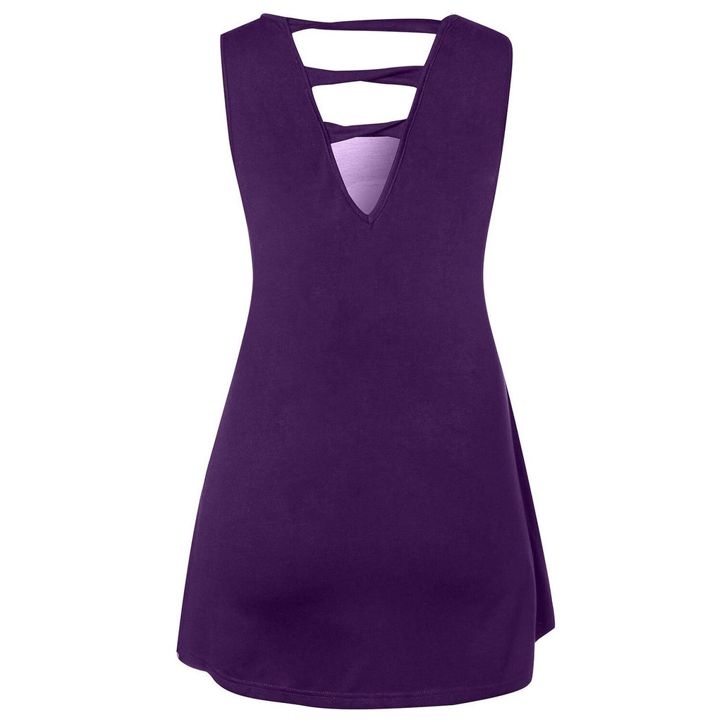 U Neck Big Size Sleeveless Hole Tee