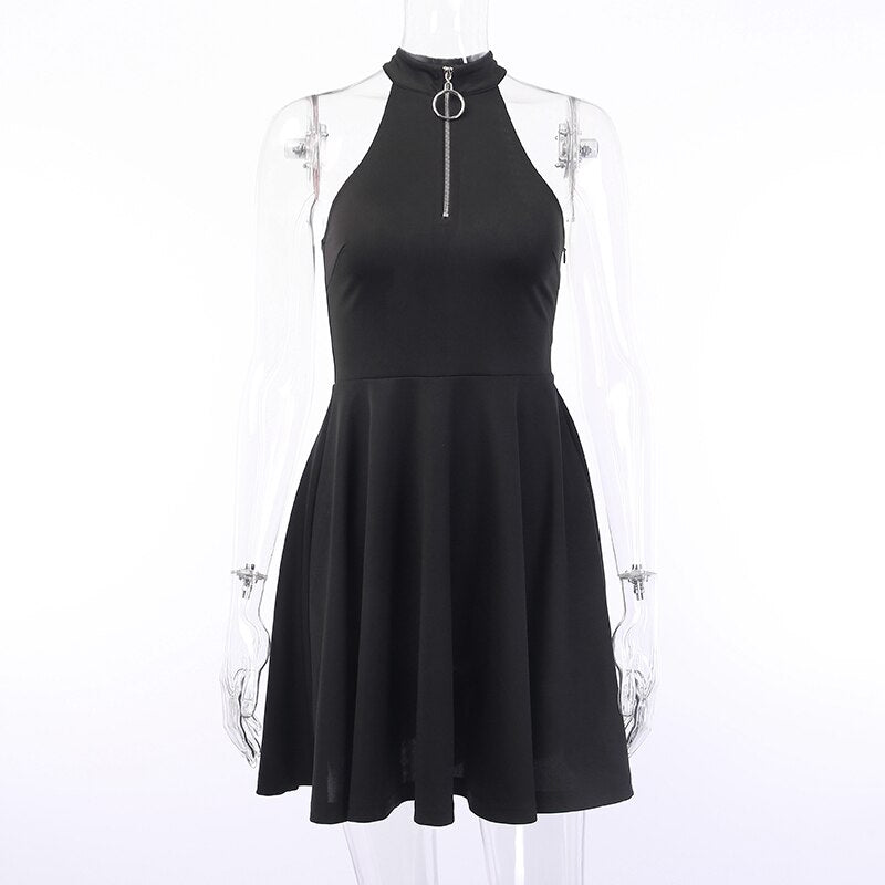 High Waist Pleated Dress Gothic Darkness