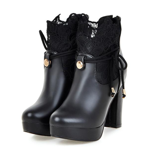 Lace Boots Thick High Heeled