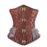 Corset Brown Black Steel Bone Underbust